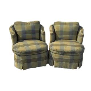 Henredon Swivel Club Chairs - A Pair