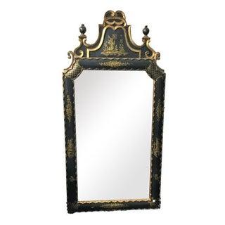Antique Italian Black & Gold Asian Pagoda Mirror