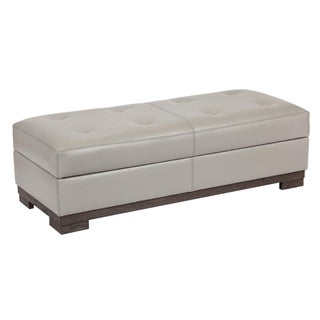 Transitional Leather Storage Bench