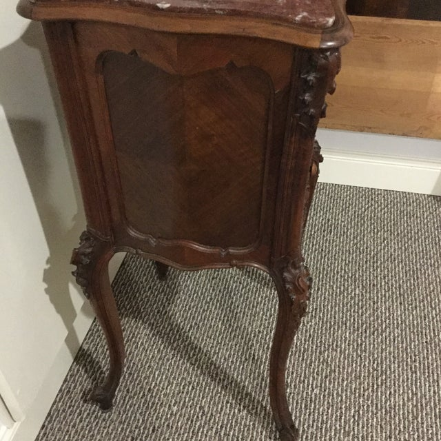 Antique French Country Marble Top Nightstand - Image 5 of 10