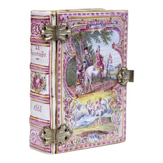 French Book Shaped Porcelain Jewelry Box