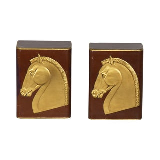 Embossed Leather Horse Bookends - A Pair