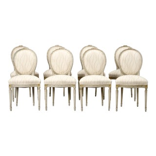 Set of Eight French Louis XVI Style Painted Dining Chairs