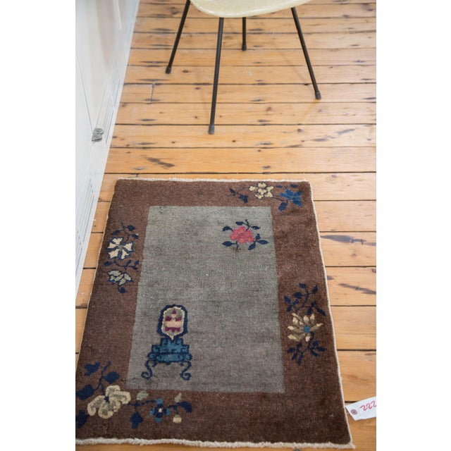 """Antique Art Deco Chinese Rug Mat - 2' X 2'11"""" - Image 5 of 7"""