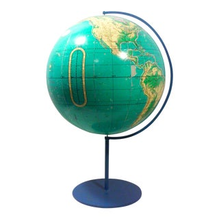 Industrial Globe on Blue Iron Stand