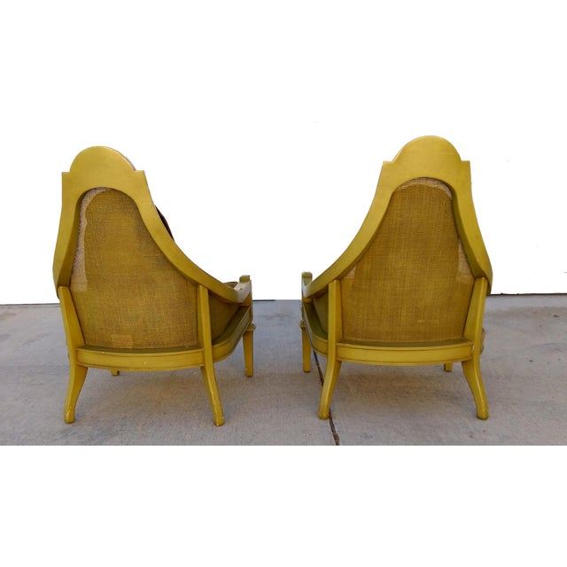 Mid-Century Green Cane Slipper Chairs - A Pair - Image 7 of 10