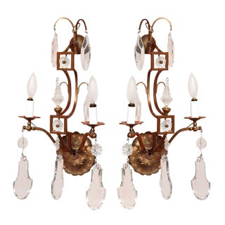 French Brass & Crystal Sconces - A Pair