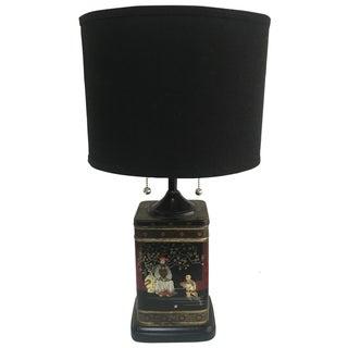 Metal Chinoiserie Tin Lamp