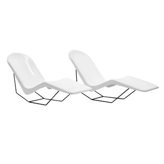 Pair of 1960s Fiberglass Patio or Pool Chaise Lounge Chairs Beautifully Restored