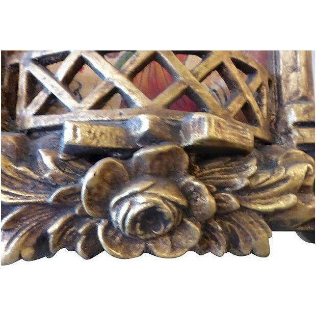Image of Carved Wood Asian Motif Mirrors - A Pair