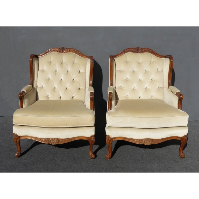 Pair of Bernhardt Tufted Wing Back Velvet Chairs - Image 2 of 11