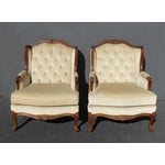 Image of Pair of Bernhardt Tufted Wing Back Velvet Chairs