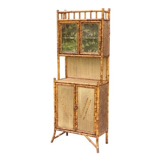 Antique French Scorched Tortoise Bamboo Cabinet