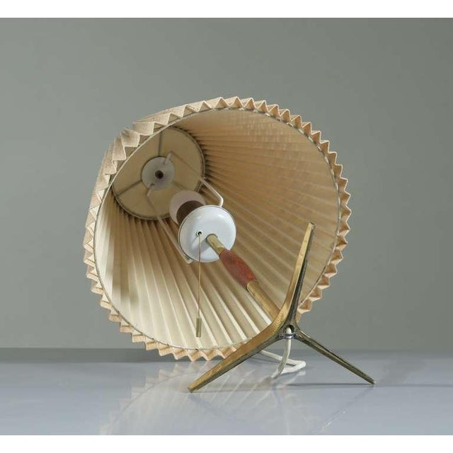 Brass And Wood Table Lamp With Pleated Fabric Shade, 1950s - Image 4 of 5