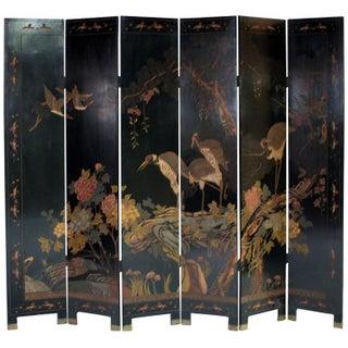 Six-Panel Lacquered Chinese Coromandel Screen