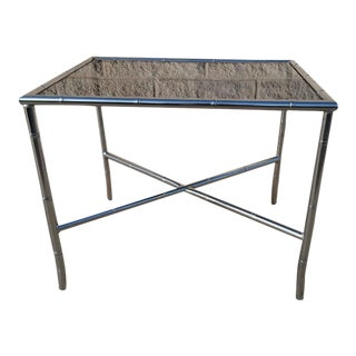Hollywood Regency Faux Bamboo Chrome Side Table