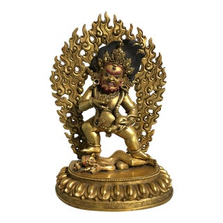Nepalese Gilt Bronze Figure of Black Jambhala, late 20th century