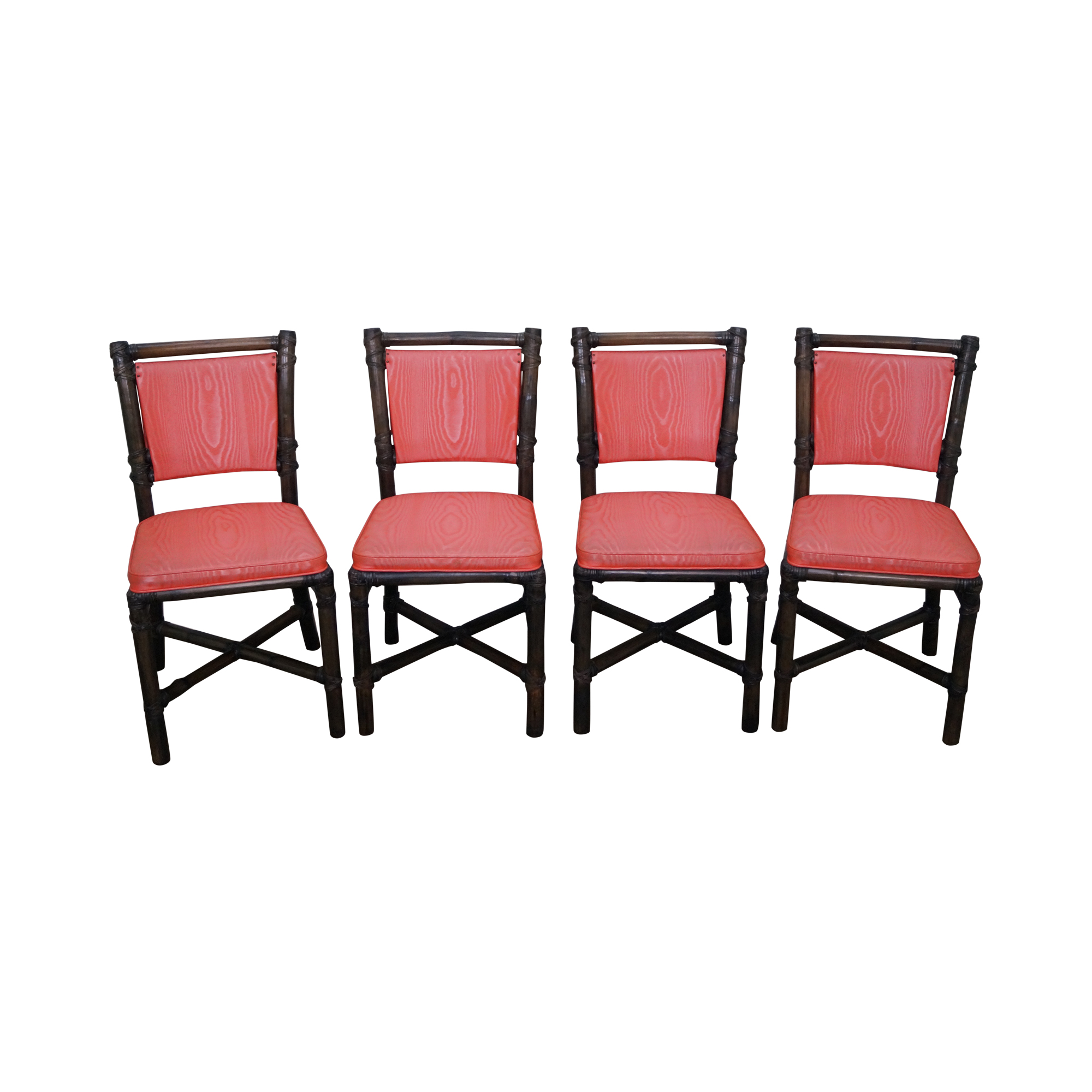 mcguire vinyl rattan dining chairs set of 4 chairish