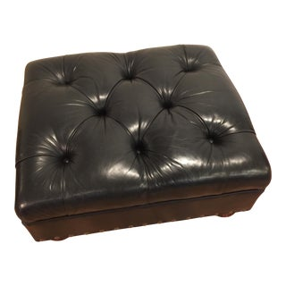 Ralph Lauren Black Leather Tufted Ottoman