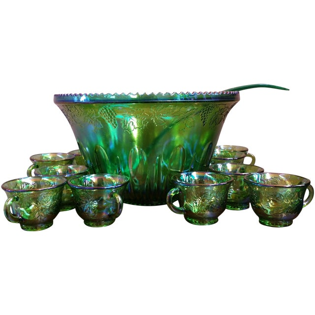 Carnival 1970s Iridescent Green & Brown Glassware - Image 1 of 8