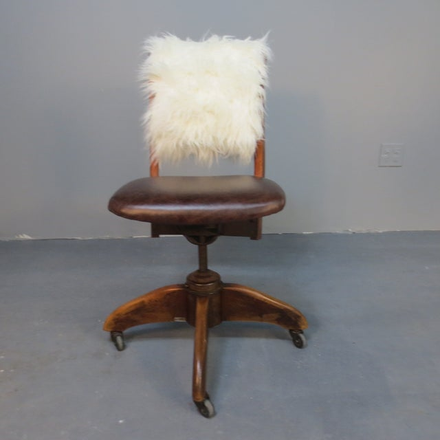 Art Deco Office Chair With Fur Back - Image 3 of 5
