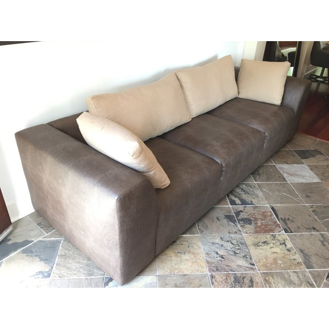 Image of Mourra Starr Sofa, Brown Faux Leather
