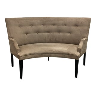 Curved Gray Ultra Suede Banquette