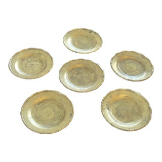Vintage Brass Bamboo Style Coasters - Set of 6