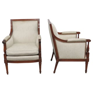 Louis XV Style Upholstered Bergere Chairs - Pair