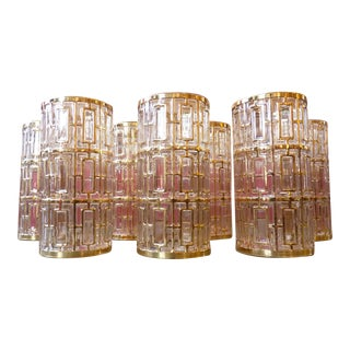 Mid Century Regency Imperial Shoji Style 22k Gold Tumblers- Set of 7