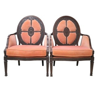 Louis XVI French Style Bergere Chairs - A Pair