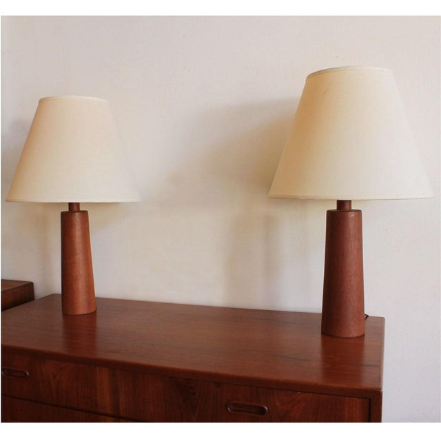Compact Turned Teak Table Lamps - Pair - Image 4 of 5