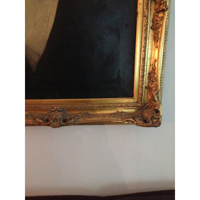 1800s Oil Portrait Painting With Gold Frame - Image 6 of 8