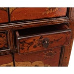 Image of Chinese Rustic Orange Two Shelves Flower Cabinet