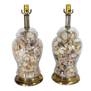 Mid-Century Brass and Glass Sea Shell Filled Lamps - A Pair