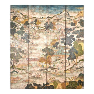 Four-Panel Hand-Painted Chinoiserie Screen