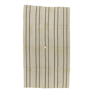 Vintage Striped Natural Turkish Kilim Rug - 5′7″ × 9′8″