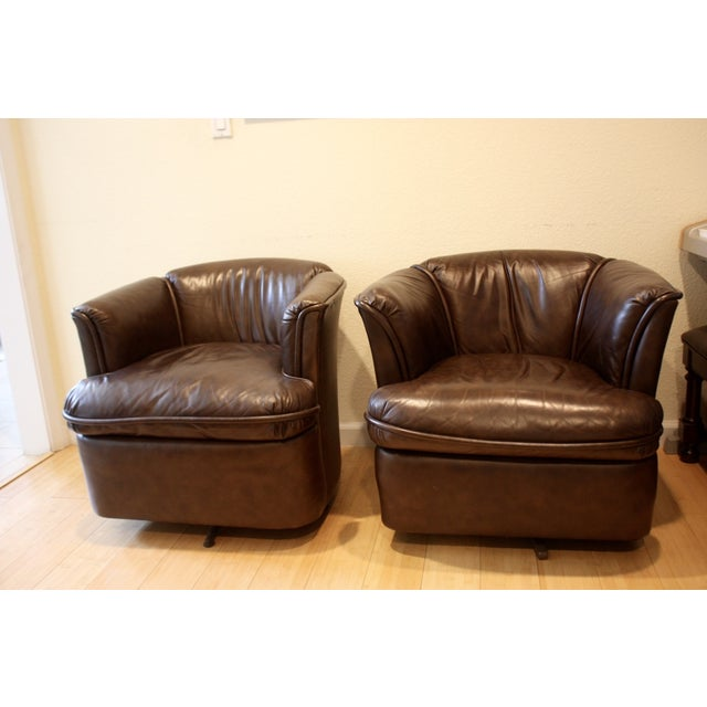 Image of Collected Leather Barrel Back Chairs - A Pair