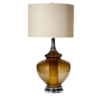 1970s Smoked Glass Table Lamp