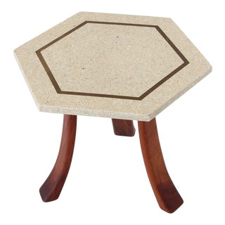 Harvey Probber Side Table in Terrazzo, Brass and Walnut