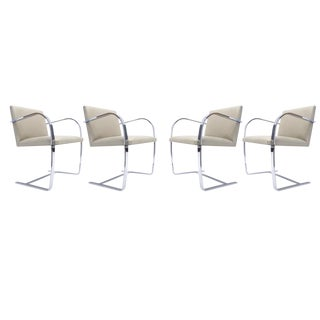 "Set of Four Mies van der Rohe Volo ""Parchment"" Flat Bar Brno Chairs by Knoll"