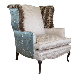 Silk & Fur Teal and Champagne Wingback Chair