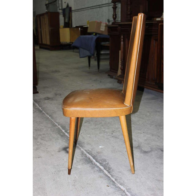 1940s Vintage French Art Deco Walnut Dining Chairs - Set of 6 - Image 7 of 7