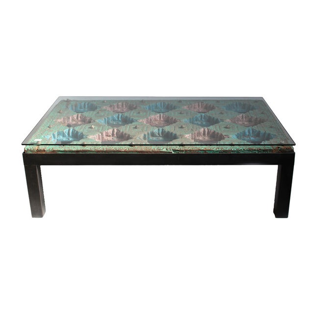 Indian Glass Top Coffee Table: Indian Ceiling Panel Coffee Table