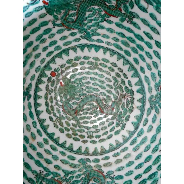 Mammoth Chinese Emerald Dragon Bowl - Image 5 of 7