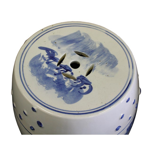 Chinese Blue & White Porcelain Scenery Round Stool Table - Image 3 of 7