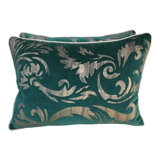 Hand Stenciled Velvet Pillows - A Pair - Image 1 of 6