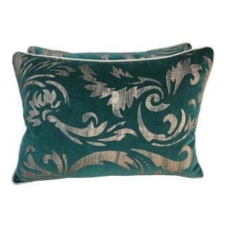 Hand Stenciled Velvet Pillows - A Pair