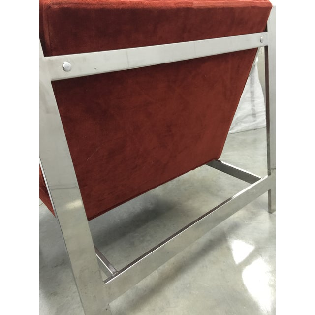 Milo Baughman Chrome and Velvet Lounge Chair - Image 7 of 7