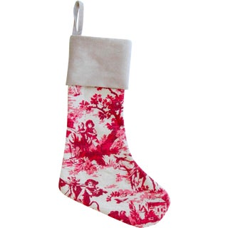 Custom French Linen & Velvet Christmas Stocking